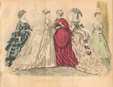 Ladies Fashions, Paris, Wedding Gown, Victorian, Vintage 1869 Antique Art Print