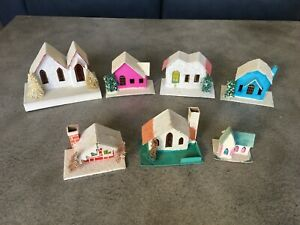 LOT OF 7 VINTAGE PUTZ STYLE PAPER MICA  VILLAGE HOUSES, MADE IN JAPAN