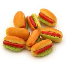 5X Maison de poupées miniature hot-dog et LAITUE dans petit pain avec KETCHUPS