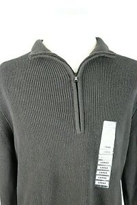 Calvin Klein Mens Large 100% Cotton 1/2 Zip Pullover Sweater Coffee Bean Brown