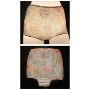 """Unique Vintage 1960's Girl's Sheer Floral Overlay Nylon Panties  - Waist 18-34"""""""