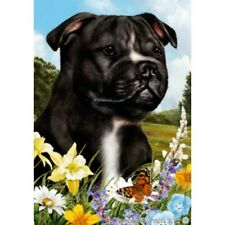 Summer Garden Flag - Black and White Staffordshire Bull Terrier 182311