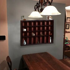 28 Shot Glass Display Cabinet Case Wall Mounted Rack Solid Wood No Door Espresso