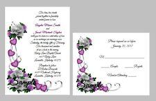 100 Personalized Custom Purple Heart White Rose Bridal Wedding Invitations Set