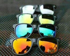 Sonnenbrille Verspiegelt Nerd Schwarz Matt Blau Gold Orange Silber Wayfarer
