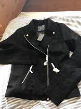 Brand New DOROTHY PERKINS UK Size 10 Tall Black Suede Biker jacket silver