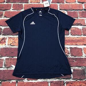ADIDAS Women's small Soccer running top Jersey Shirt Blue White