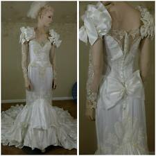 Vintage 80s white wedding gown with train San Martin Bridals size 10