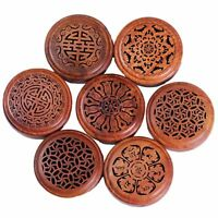 Handmade Rosewood Wooden Buddha Hollow Box Incense Burner Coil Incense Plate