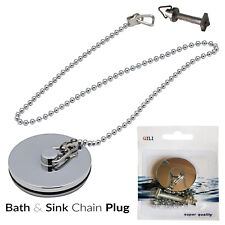 Premium Chrome Metal Bathroom Basin Sink Plug and Chain Heavy Duty Brass 1 1/4""