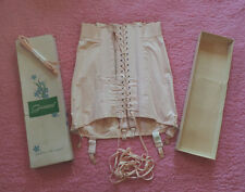Vtg PEACHY PINK Corset Girdle Cotton Made Laced Boned Support Lace Up NOS