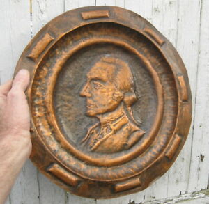 GEORGE WASHINGTON ANTIQUE COPPER RELIEF PLAQUE / CHARGER / REVOLUTIONARY WAR