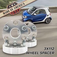 "USA MADE   3x112 - 3x112 (3 Lug Smart Car)   1"" Wheel Spacers x4"