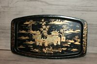 Vintage metal tole serving tray Asian motive
