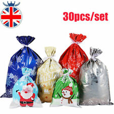 30 XMAS Drawstring Gift Bags Foil Party Christmas Candy Cookie Wrapping Bag DIY