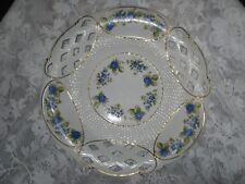 Vintage Hollohaza Hungarian Porcelain Blue &White  Large Platter Lattice Inserts