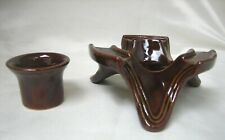 Vintage Marcrest Daisy & Dot Brown Stoneware Candle Holder & Warmer Stand