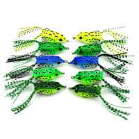 Large 5pcs Frog Topwater Soft Fishing Lure Crankbait Hooks Bass Bait Tackle
