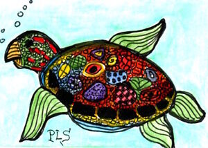 ACEO  Sea Turtle Zen Doodle Tangle Design Underwater Creature Art Penny StewArt