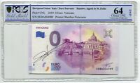 2019 0 Euro Souvenir Oberthur Vatican hand signed Richard Faille PCGS 64 OPQ