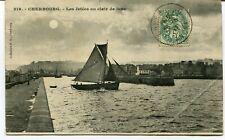 CPA - Carte Postale - France - Cherbourg - Les Jetées au clair de Lune - 1917 (M