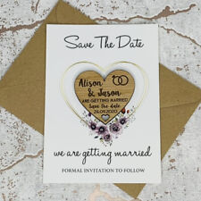 Personalised Floral Rustic Wedding Save The Date Heart Fridge Magnet Card Invite