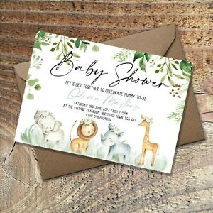 BABY SHOWER INVITATIONS Cute Animals, Personalised PK 10