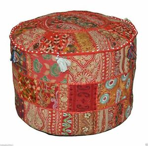 """22""""Round Pouffe Cover Indian Handmade Vintage Cotton Footstool Ottoman Patchwork"""