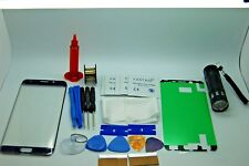 Samsung Galaxy S6 Edge Azul Cristal Frontal, Kit de Reparación de Pantalla, Loca Glue, Antorcha