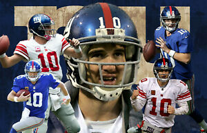 New York Giants Lithograph print of Eli Manning 17 x 11