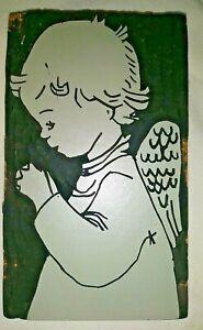 "3"" x 5"" Fused Dray Linoleum Block, Praying Child Angel, American Crayon Co."