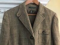 LAUREN RALPH LAUREN Houndstooth Linen Blazer Suit Jacket Lined Tan Brown Size 16