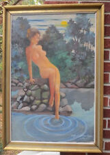 Vintage NUDE Woman Moonlight Lake Oil Listed Clifford CHELTENHAM 1961 Painting