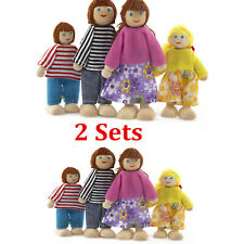8X Wooden Family People Dolls House Toys DollsHouse People Characters Kids Gift