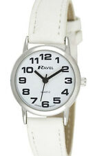 Ravel Girls Ladies SUPER BOLD BIG NUMBERS Watch Easy Read White Dial White Strap