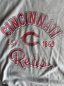 Cincinnati Reds MLB French Terry Fleece Long Sleeved Shirt Ladies NEW PLUS 1X