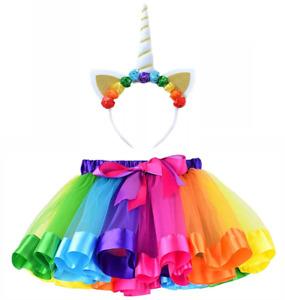 Tutu Skirt Women's Rainbow Unicorn Party Set Tulle Ballet Skirt Adult Halloween
