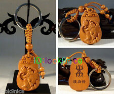 Hot! Beautiful Classical Carved wooden key chain keyring (Lucky Zodiac Monkey)