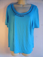 Debenhams Gorgeous Turquoise Top.Silver Studs.Short Slv.Viscose Stretch.UK 18