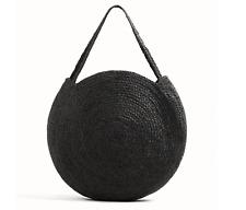 MANGO Round Shopper Bag BRAIDED JUTE Black LIMITED EDITION XL Weave HandBag NWT