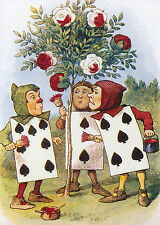 Print ALICE IN WONDERLAND Card of Spades Gardners Painting White Roses into Redk