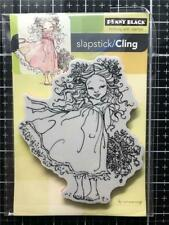 New Penny Black Rubber Stamp FLOWER CHARM GIRL garden cling free USA ship