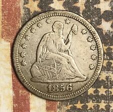1856 Seated Silver Quarter Collector Coin For Collection. FREE SHIPPING