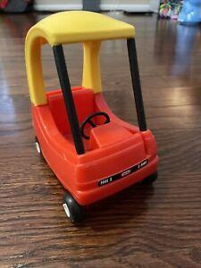 Vintage Little Tikes Dollhouse Size Mini Cozy Coupe Car Toy Small Red Yellow EUC