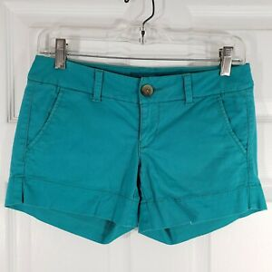 AMERICAN EAGLE Size 00 Stretch Turquoise Blue Shorts Womens  AEO