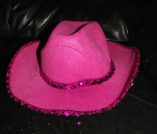 Adult Sized Pink Cowboy Hat with Sequinned Band and Edging hen party fancy dress