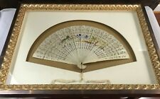 ANTIQUE BEAUTIFUL CHINESE HAND CARVED & PAINTED BOVINE BONE FAN + CASE