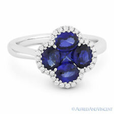 Gold Right-Hand Flower Charm Cocktail Ring 1.96 ct Sapphire & Diamond 18k White