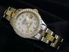 Rolex Datejust Lady 14K Yellow Gold Steel Watch White MOP Diamond Dial 1ct Bezel
