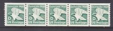 "US 2112 MNH 1985 ""D Rate (22¢) Green Eagle PNC Coil Strip of 5 Plt#2"